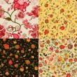 Set of vector retro floral seamless patterns — Stock Vector