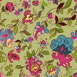 Vector retro floral seamless pattern. — Stock Vector