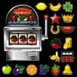 A vector slot fruit machine with cherry winning on cherries and — Stock Vector