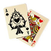 Black Jack. Two cards on white background — Stok Vektör