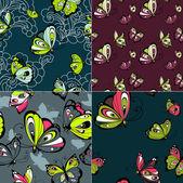 Sada čtyř krásné bezešvé vzory s motýly. — Stock vektor