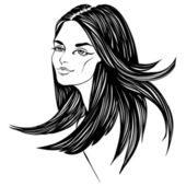 Fashion beautiful woman with long curly hair. — Stock Vector