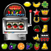 A vector slot fruit machine with cherry winning on cherries and — Stock vektor