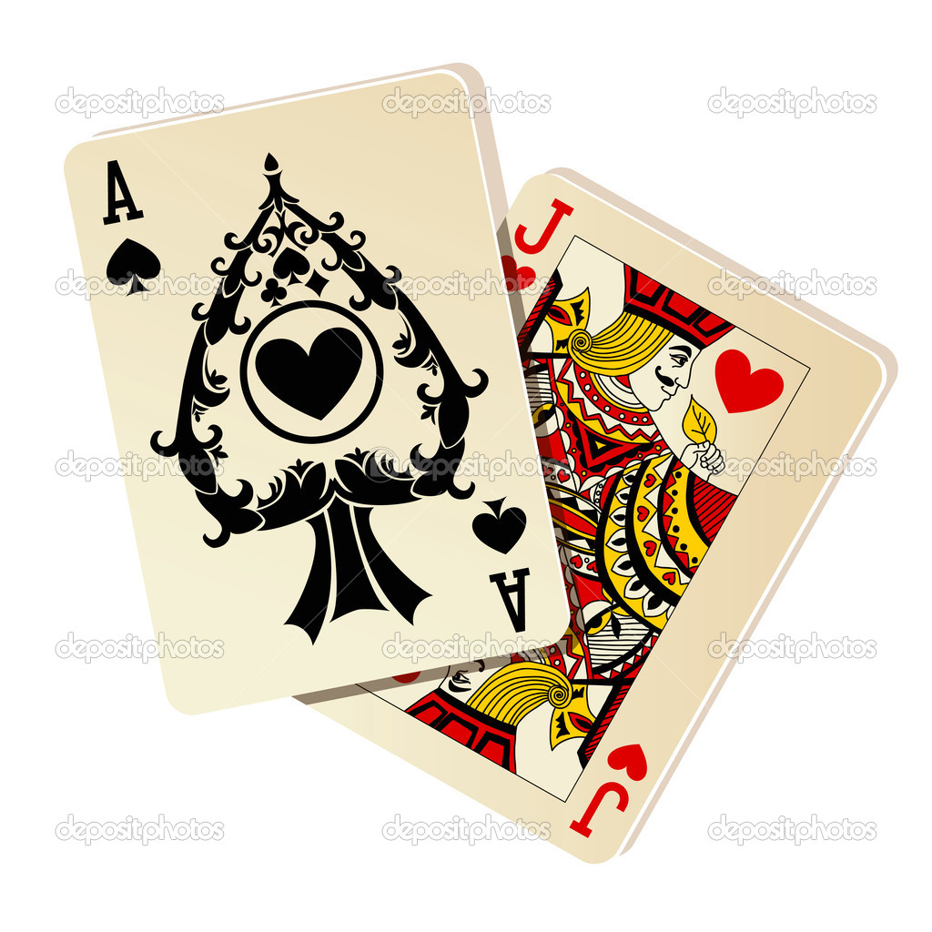 Black Jack. Two Cards On White Background