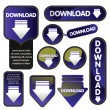 Stock Vector: Download buttons for the web