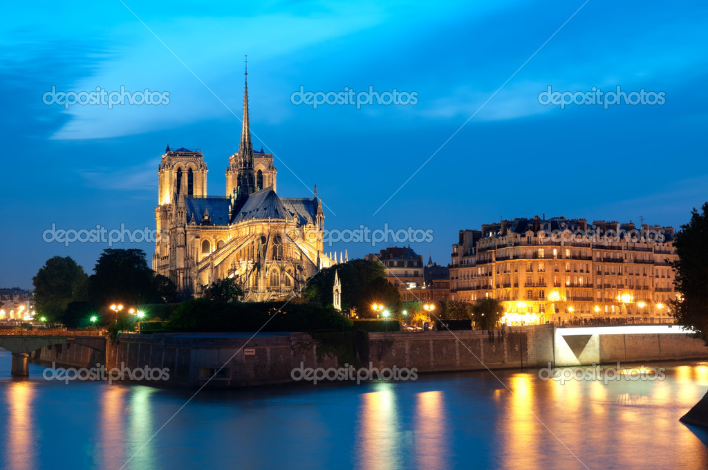 Notre Dame at night in Paris. — Stock Photo #11757714