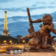 Pont Alexandre III bridge and the Eiffel Tower, Paris - France - Stock Photo