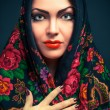 Gorgeous russian woman in shawl - Stock Photo