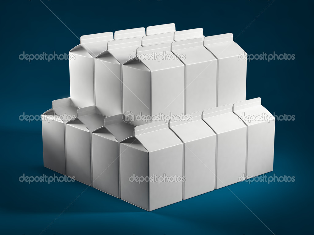 Stack of milk boxes  Foto Stock #11256151