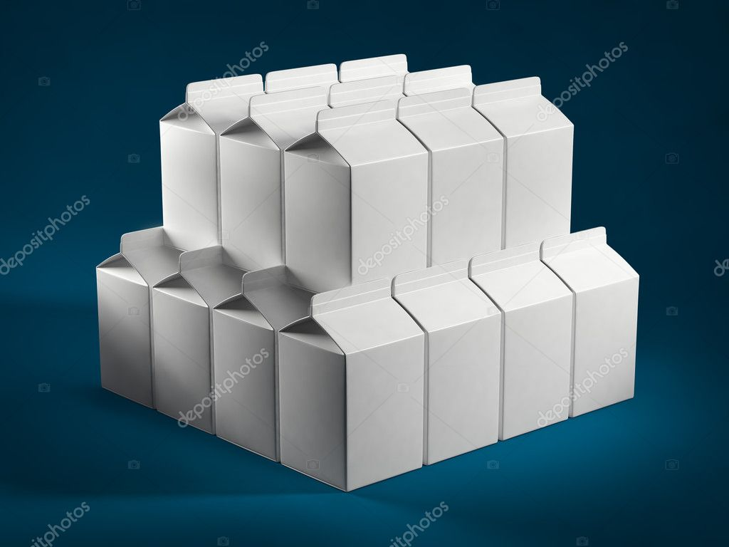 Stack of milk boxes  Photo #11256151