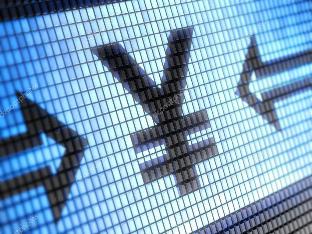 Yen symbol on monitor  Stock Photo #11275007