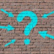 Question mark on brick seamless wall — Stock Photo