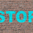 """Stop"" on brick seamless wall — Stock Photo"
