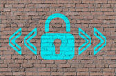 Lock mark on brick seamless wall — Stock Photo