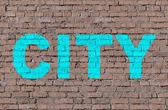 """City"" on brick seamless wall — Stock Photo"