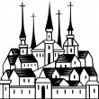 Town with churches — Stock Vector #11532774