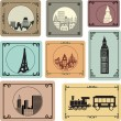 Cities in retro style — Stock Vector