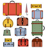 Retro travel bags — Stockvektor