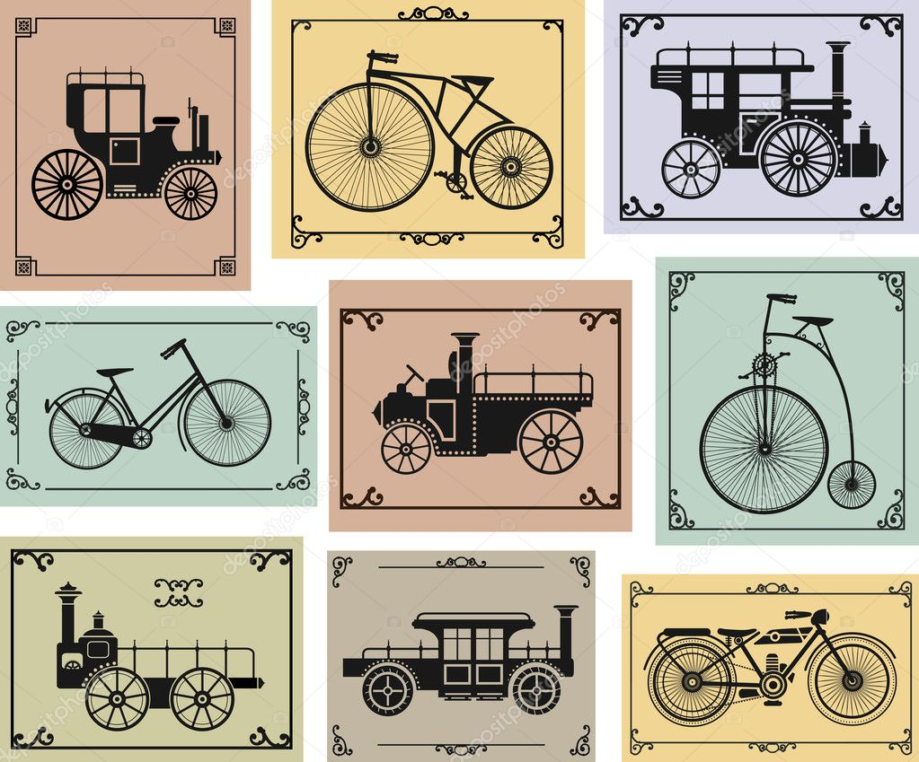 Vector set of old bikes and cars on a colorful background — Stock Vector #11955642