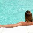 Stock Photo: Womin pool relaxing