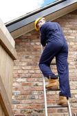Un ouvrier sur une échelle — Photo