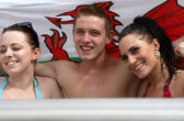 Two females and one male in a jacuzzi — Stock Photo