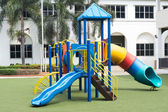 Playground on green grass and outdoor — Stock Photo