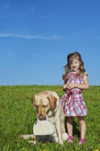 Gilr with dog — Stock Photo