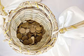 Small change in basket — Stock Photo