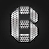 Metall chrom ribbon - buchstabe b — Stockvektor