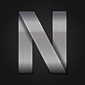 Letter metal chrome ribbon - N — Stock Vector