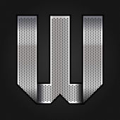 Letter metal chrome ribbon - W — Stock Vector