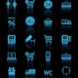 Stock Vector: Set pictograms supermarket services, Shopping blue icons
