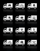 Set of truck icons - free delivery — Stock Vector