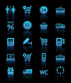 Set pictograms supermarket services, Shopping blue icons — Vector de stock