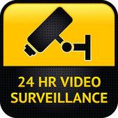 Simbolo di videosorveglianza, punzonati superficie metallica — Vettoriale Stock