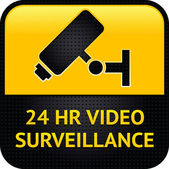 Video surveillance symbol, punched metal surface — Stock Vector