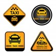 Taxi cab set stickers — Stock Vector