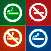 Stickers set - No smoking area labels — Stock Vector