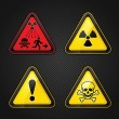 Hazard warning set attention symbols — Stock Vector