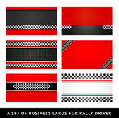 Business card - rally driver templates — Stock Vector