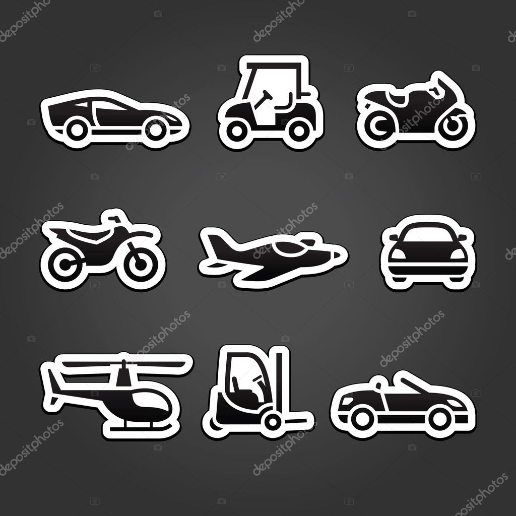 Transportation stickers set icons  Stock Vector #11644589