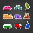 Set simple stickers color transport — Stock Vector