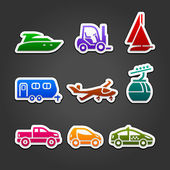 Set labels color transport icons — Stock Vector