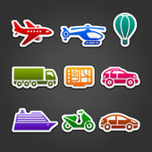 Set stickers color transport — Stock Vector