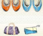 Mode schoenen en tassen. — Stockvector