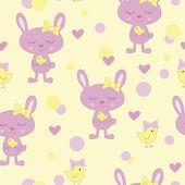 Rabbit and bird — Stock Vector