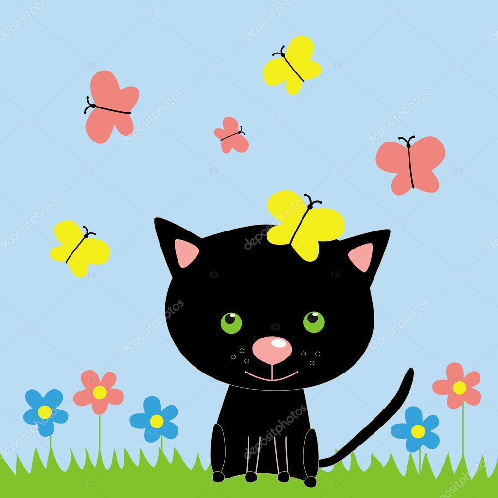 The illustration with cat and butterfly  Stock Vector #11392646