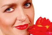 Woman and Red Rose — Stock Photo