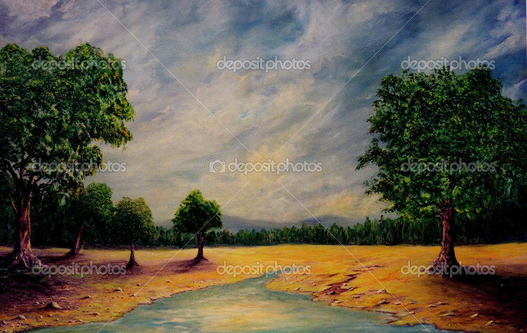 Very Nice peaceful Original Oil Painting On Canvas — Stock Photo #11815708